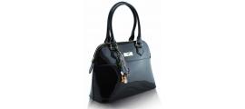 Dámska kabelka kožená lakovaná, čierna 10329