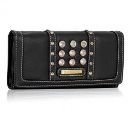Peňaženka s kamienkami Styla, čierna 14939