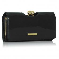 Peňaženka lakovaná Kiss, čierna 15113