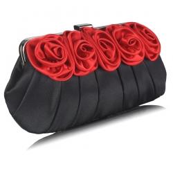 Kabelka saténová s klipom Rosie, čierno červená 15550
