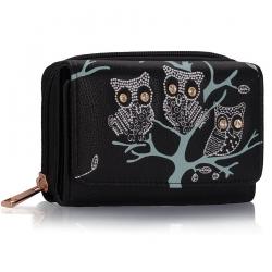 Peňaženka malá s kamienkami Sova, čierna 15677
