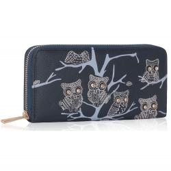 Peňaženka na zips s kamienkami Sova, modrá 15886