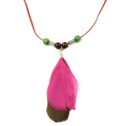 Dámsky náhrdelník pierka, s korálikmi, ružovo-hnedé 10179