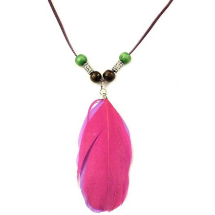 Dámsky náhrdelník pierka, s korálikmi, ružovo-fialové 10178