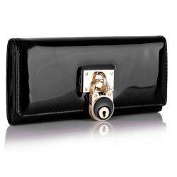 Peněženka lakovaná Lock, černá 16046