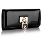 Peňaženka lakovaná Lock, čierna 16046