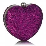 Kabelka lurexová Srdce, fialová 16292