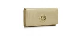 Peňaženka lakovaná s brošňou Poklad, champagne 16997