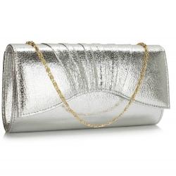 Kabelka Clutch metalická Blesy, stříbrná 17159