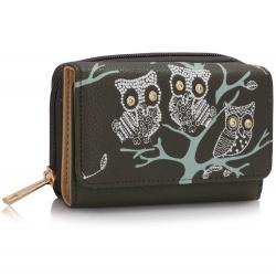 Peňaženka malá s kamienkami Sova, sivá 17262