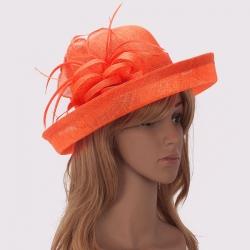 Fascinátor klobúk s kvetmi, oranžový 17481