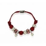 Náramok Shamballa perla, červený 11698