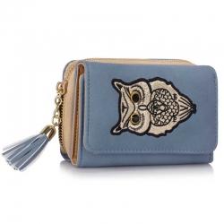 Peňaženka malá s kamienkami Sova, modrá 18139