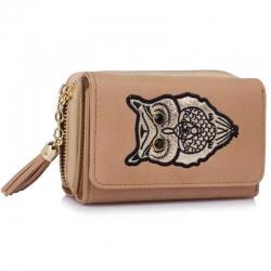 Peňaženka malá s kamienkami Sova, nude 18142