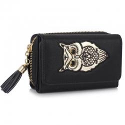 Peňaženka malá s kamienkami Sova, čierna 18143