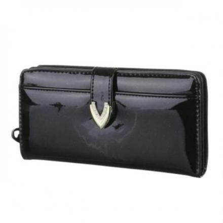 Peněženka lakovaná Jasy L, černá 17764