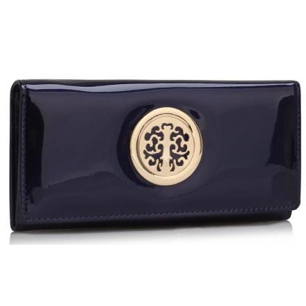 Peněženka lakovaná s broží Onna, modrá 18329