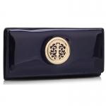 Peňaženka lakovaná s brošňou Onna, modrá 18329