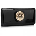 Peňaženka lakovaná s brošňou Onna, čierna 18331