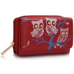 Peňaženka malá s kamienkami Sova, červená 14955