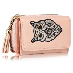 Peňaženka malá s kamienkami Sova, ružová 19290
