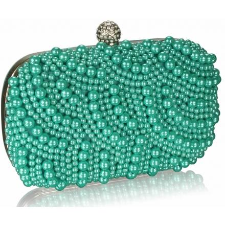 Kabelka saténová s perlami Charm, emerald 12427