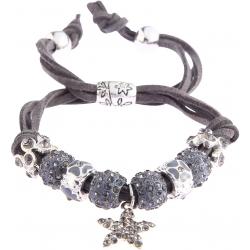 Náramek Shamballa krystalek Hvězda, šedý 13725