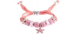 Náramek Shamballa krystalek Hvězda, růžový 13728