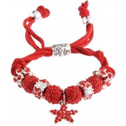 Náramok Shamballa kryštálik Hviezda, červený 13729