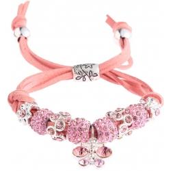 Náramek Shamballa krystalek Motýl, růžový 13715