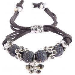 Náramek Shamballa krystalek Motýl, šedý 13716