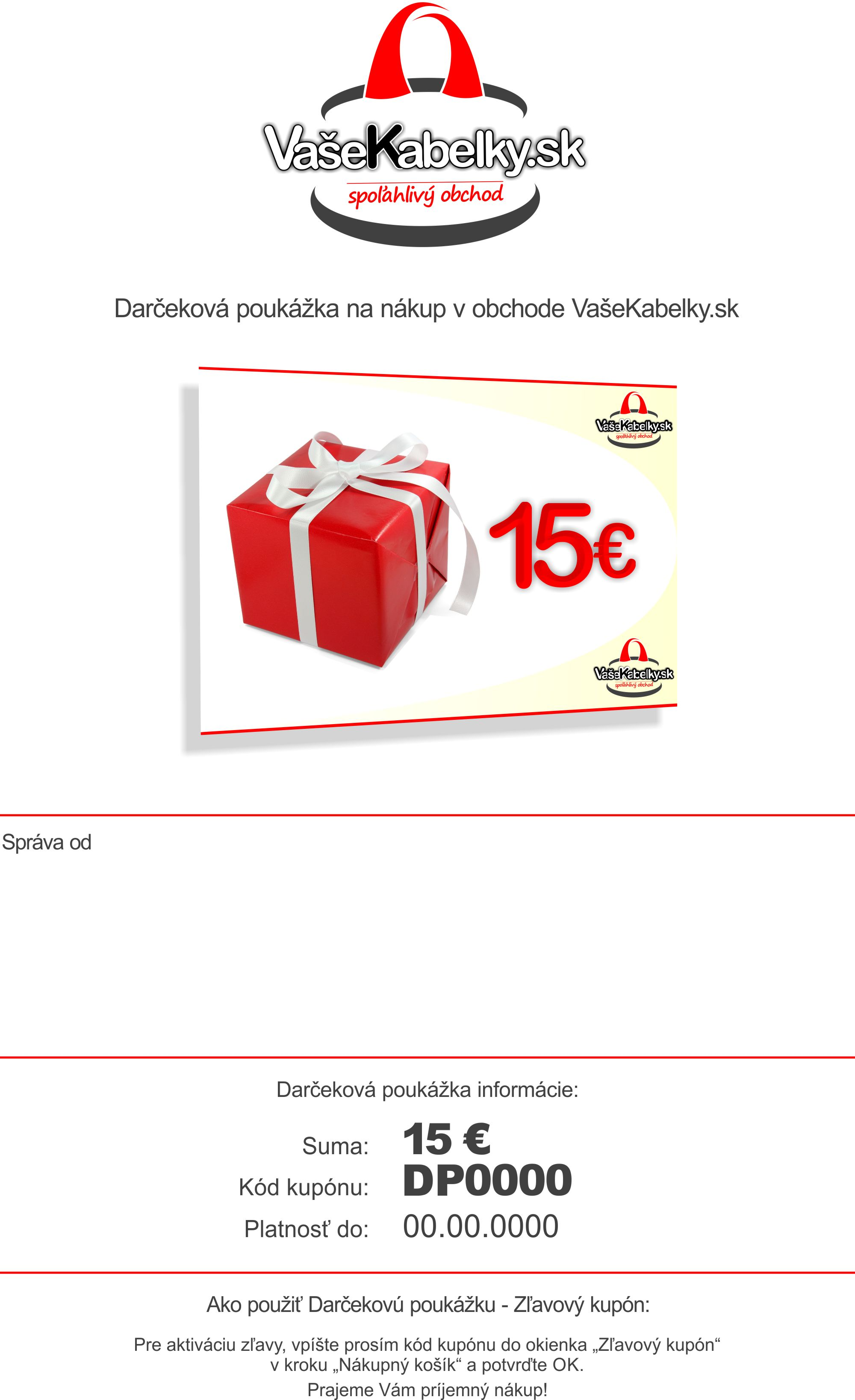 Darčeková poukážka 15 - VašeKabelky.sk 1bb031807e0